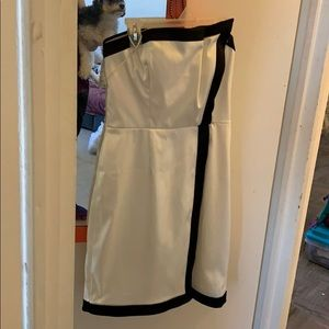 Vince Camuto white and black strapless dress